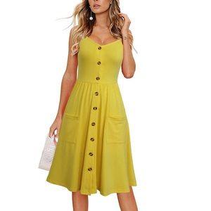 Flattering Spaghetti Strap Button Down Midi Dress